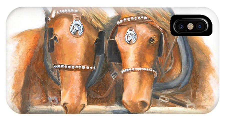 Horse IPhone Case featuring the painting Mini And Jake by Jerry McElroy