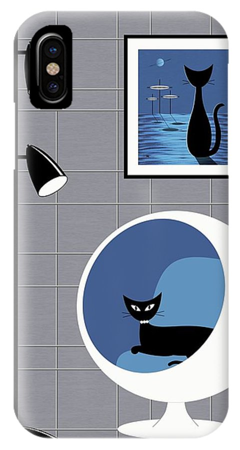 Mid Century Modern IPhone X Case featuring the digital art Mini Space Cat by Donna Mibus