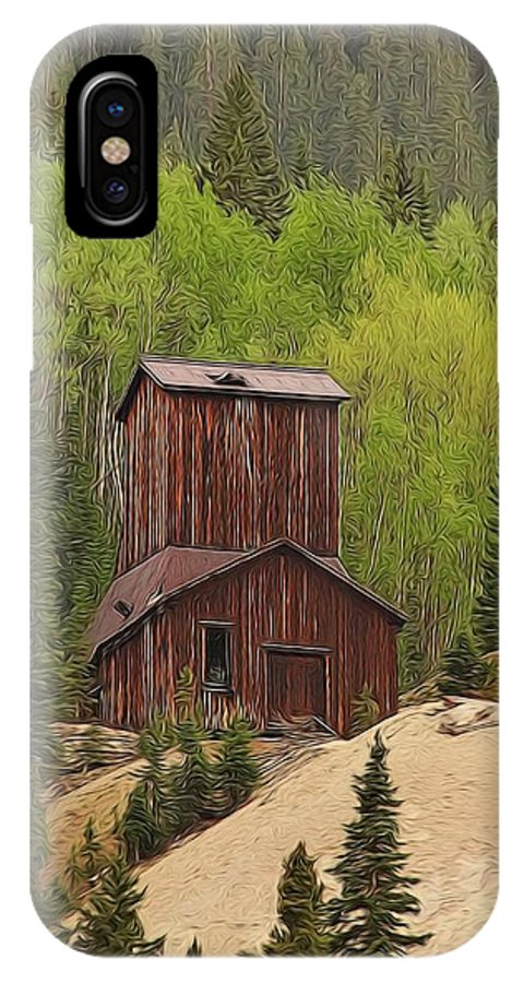 Old Mining Building Silverton Colorado IPhone X Case featuring the digital art Mining Building In Colorado by Dan Sproul