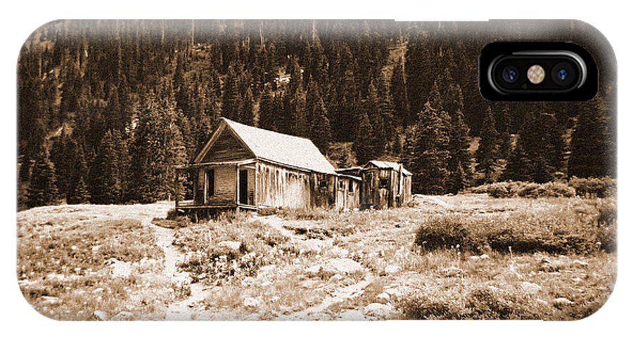 Mining IPhone X Case featuring the photograph Mining House In Black And White by Jennifer Lavigne
