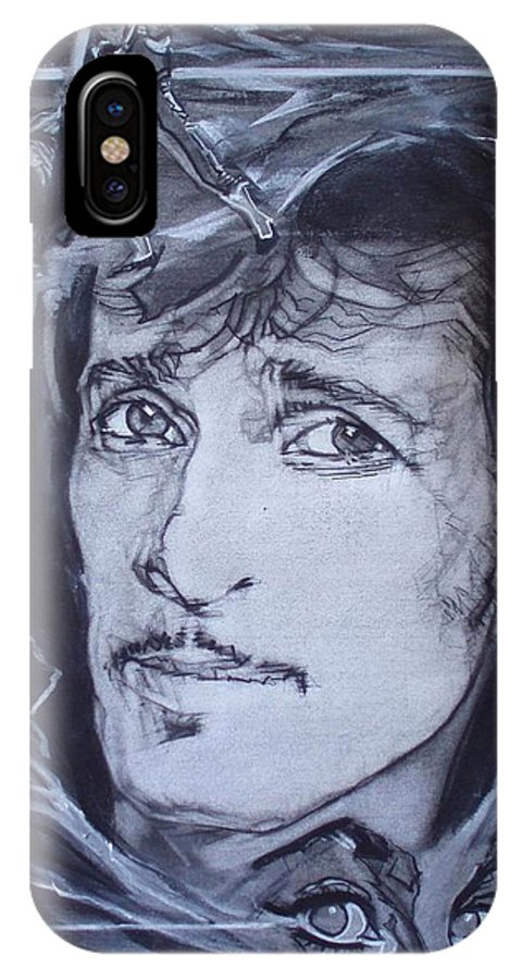 Charcoal;mink Deville;new York City;gina Lollabrigida Eyes ;cat Eyes;bullfight;toreador;swords;death;smoke;blues IPhone X / XS Case featuring the drawing Willy Deville - Coup De Grace by Sean Connolly
