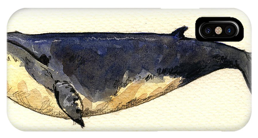 Minke IPhone X Case featuring the painting Minke Whale by Juan Bosco