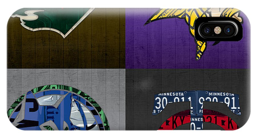 Minneapolis IPhone X Case featuring the mixed media Minneapolis Sports Fan Recycled Vintage Minnesota License Plate Art Wild Vikings Timberwolves Twins by Design Turnpike