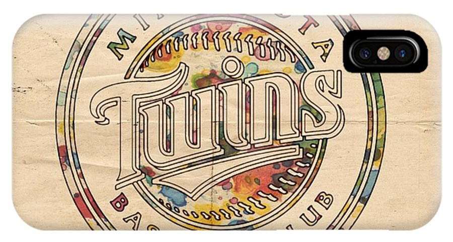 Minnesota Twins IPhone X Case featuring the painting Minnesota Twins Logo Vintage by Florian Rodarte