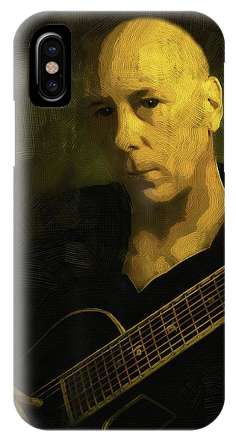 Guitar IPhone X Case featuring the painting Minstrel Renaissance Modern by RC DeWinter