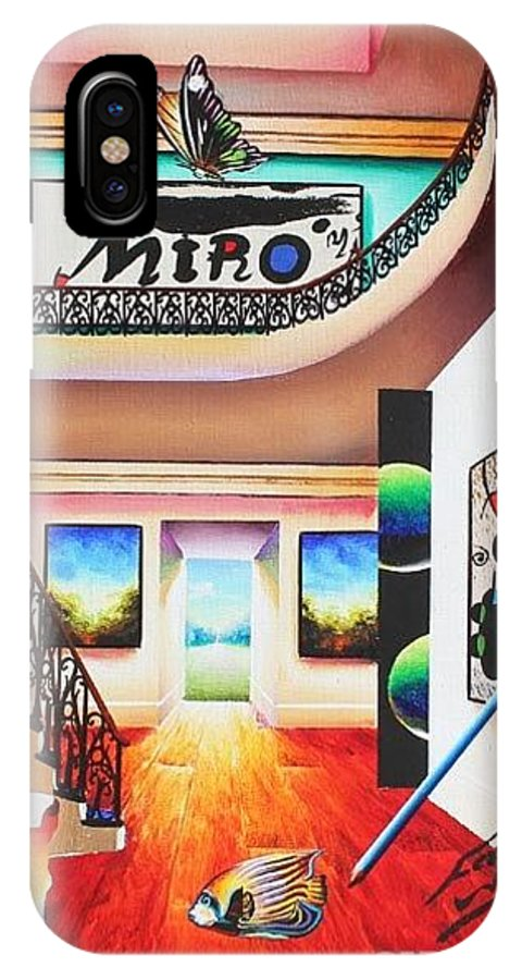 Sureal IPhone X Case featuring the painting Miro by Ferjo