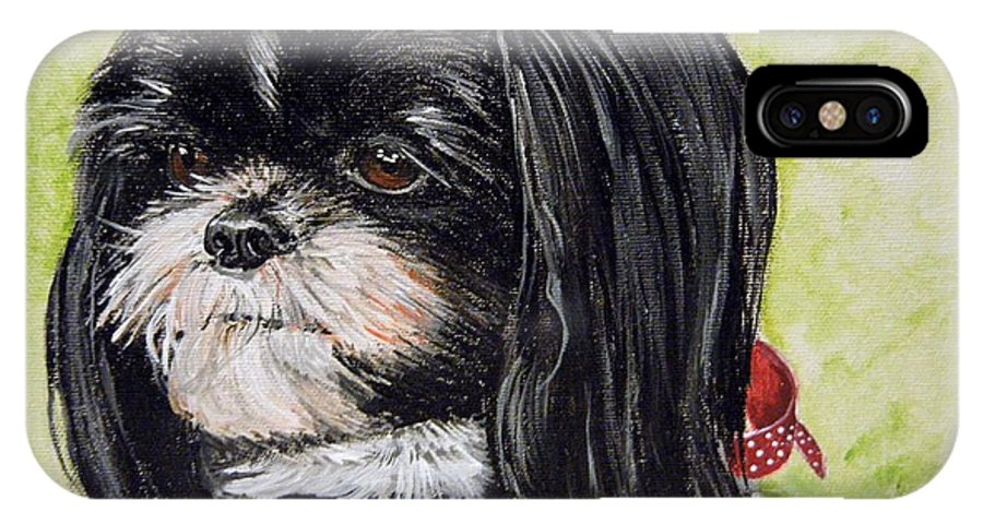 Scruffy Dog IPhone X Case featuring the painting Mirsa by Mandy Jones