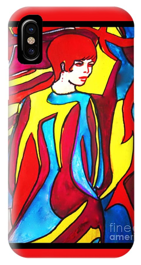 Fashion IPhone X Case featuring the painting Miss 1966 Detail 2 by Joan-Violet Stretch