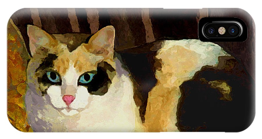 Cat IPhone X Case featuring the painting Miss Tillie On A Pillow Bright by Dale Moses