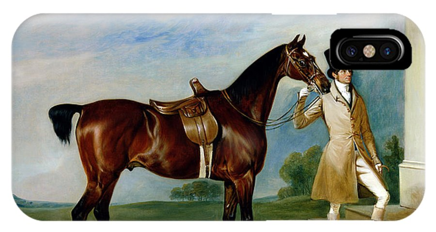 Horse; Docked Tail; Hunting IPhone X Case featuring the painting Miss Villebois Bay Hunter Held By A Groom by John E Ferneley
