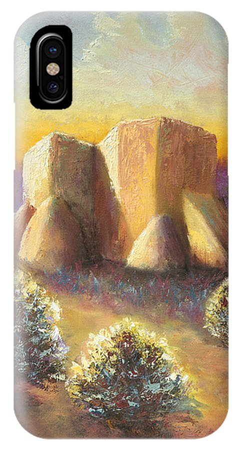 Landscape IPhone X Case featuring the painting Mission Imagined by Jerry McElroy