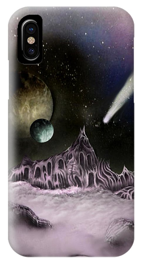 Space IPhone X Case featuring the painting Mist Mountain Keep by Phil Rushton