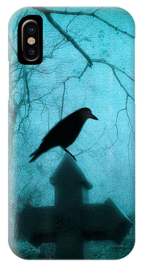 Crow On Cross IPhone X Case featuring the photograph Misted Blue by Gothicrow Images