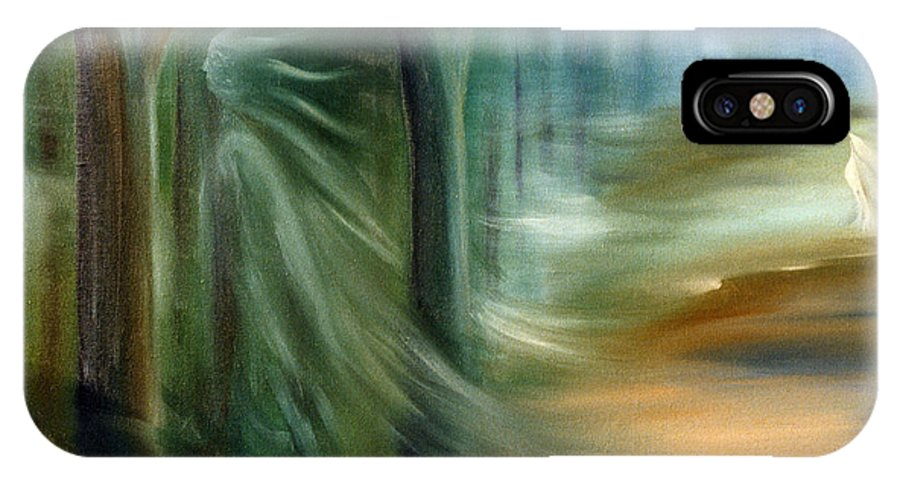 Oil Painting IPhone X Case featuring the painting Mists Of Avalon by Rosemarie Morelli