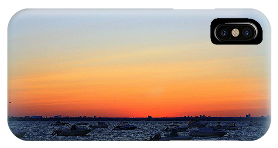Sunset IPhone X Case featuring the photograph Misty At The Bay by Dora Sofia Caputo Photographic Design and Fine Art