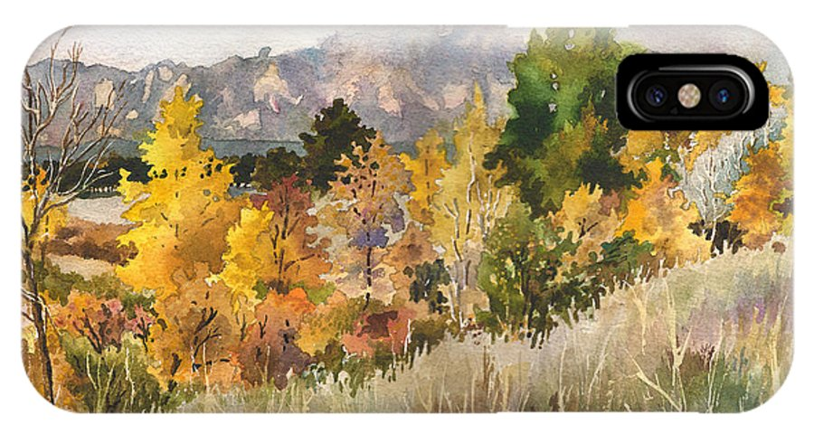 Cloud Painting IPhone X Case featuring the painting Misty Fall Day by Anne Gifford