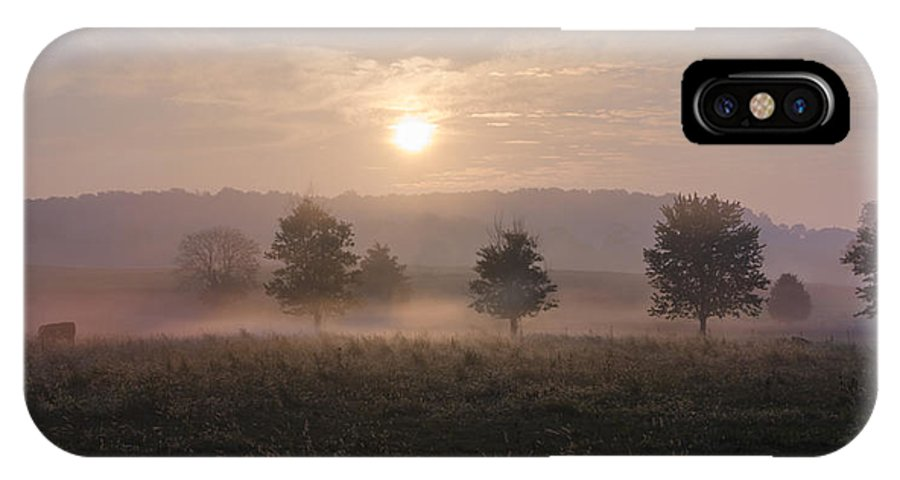 Misty IPhone X Case featuring the photograph Misty Farm At Sunrise by Bill Cannon