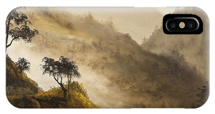 Landscape IPhone X Case featuring the painting Misty Hills by Darice Machel McGuire
