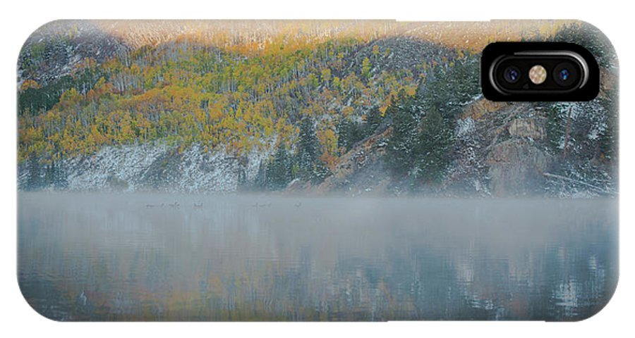 Tree IPhone X Case featuring the photograph Misty Lake With Aspen Trees by Matthewbe Photography