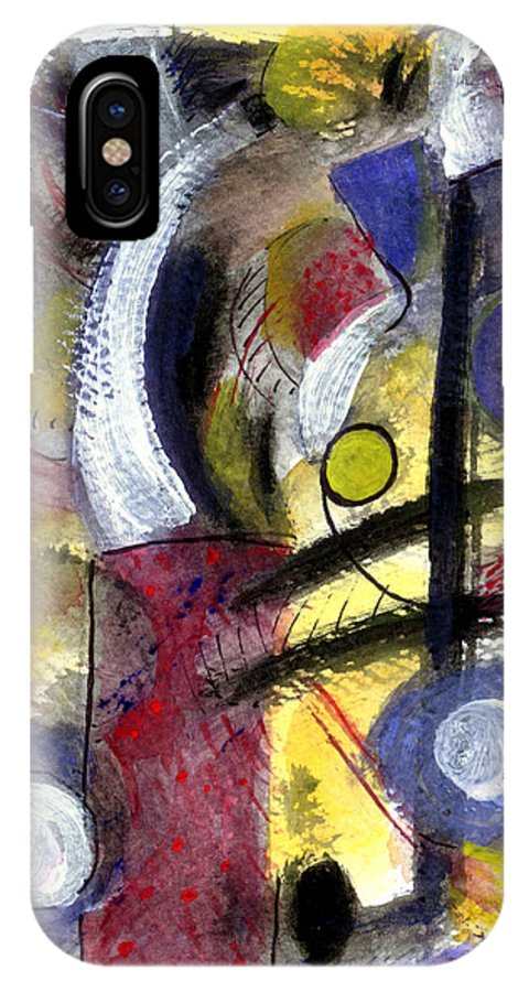 Abstract Art IPhone X / XS Case featuring the painting Misty Moon by Stephen Lucas