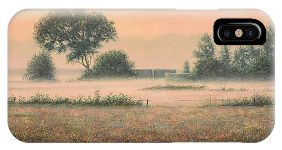 Misty IPhone X Case featuring the painting Misty Morning by James W Johnson