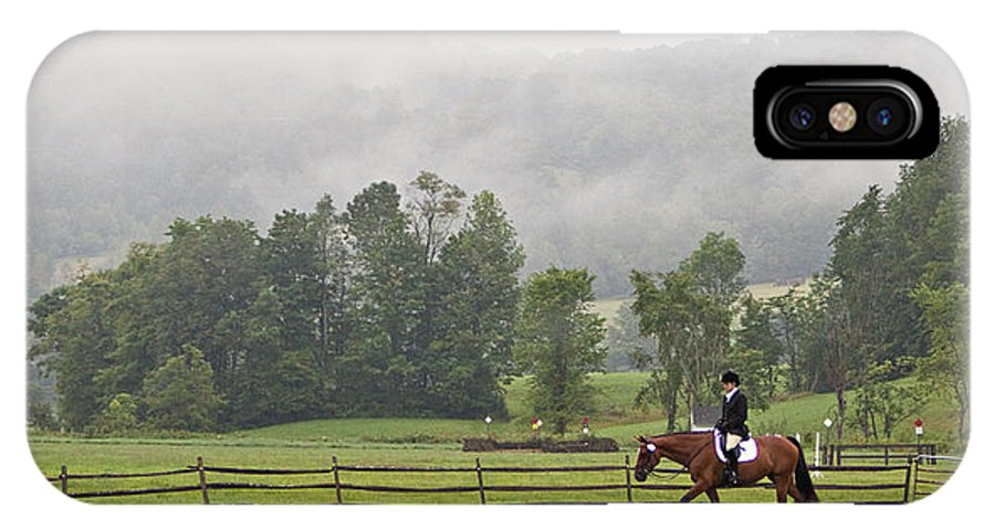 Dressage IPhone X Case featuring the photograph Misty Morning Ride by Joan Davis
