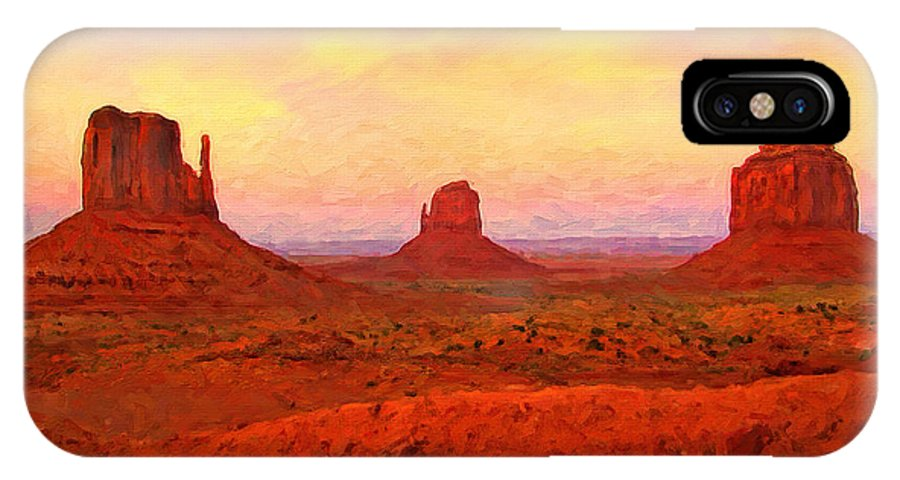 Monument Valley IPhone X / XS Case featuring the digital art Mittens Sunset by Rick Wicker