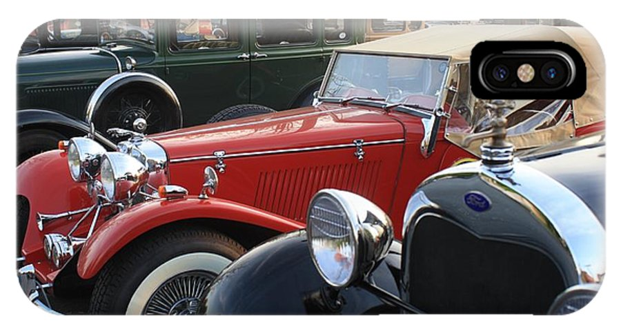 Model A Cars IPhone X Case featuring the photograph Model A Red Convertible by Connie Mueller