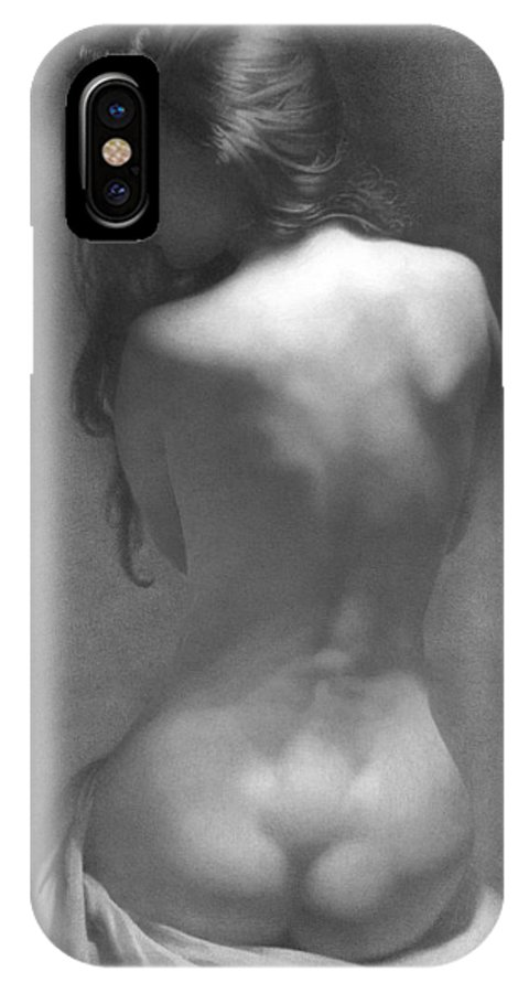 IPhone X Case featuring the drawing Model Against The Dark Background 2002 by Denis Chernov