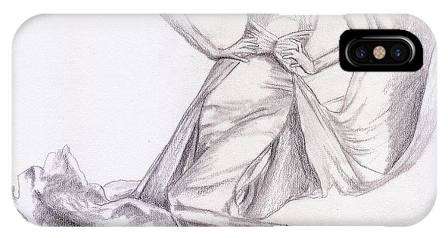 Modeling A Dress IPhone X Case featuring the drawing Modeling A Dress by M Valeriano