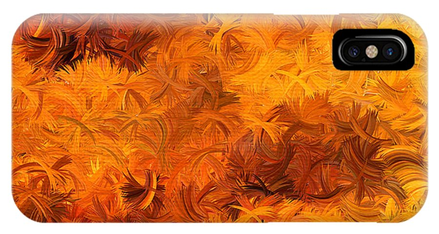 Yellow IPhone X Case featuring the digital art Modern Abstract Xxviii by Lourry Legarde