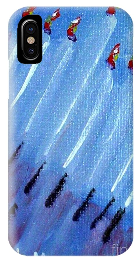 Menorah IPhone Case featuring the painting Modern Menorah by Laurie Morgan