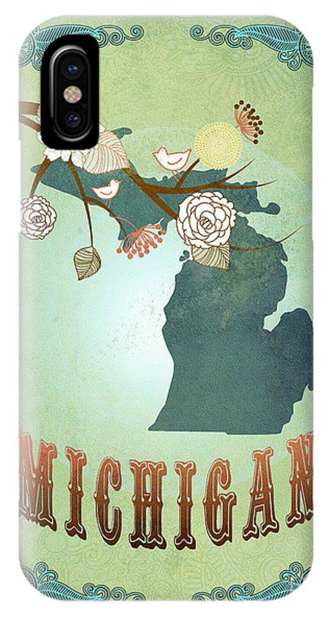 Machigan IPhone X Case featuring the digital art Modern Vintage Michigan State Map by Joy House Studio