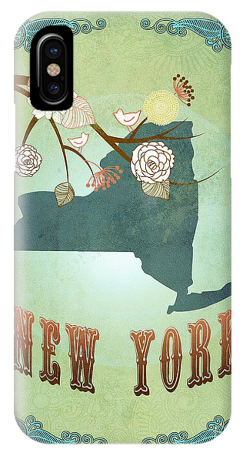New York IPhone X Case featuring the digital art Modern Vintage New York State Map by Joy House Studio
