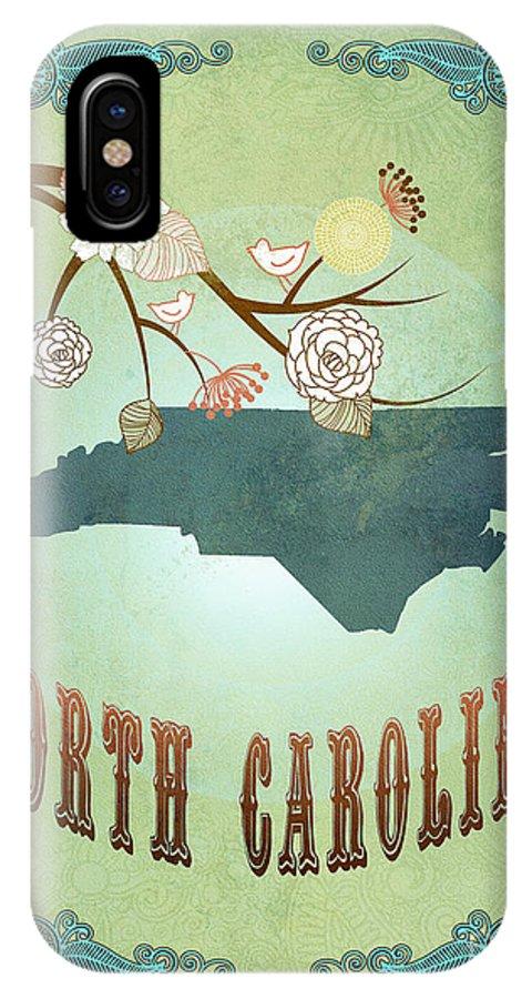 North Carolina IPhone X Case featuring the digital art Modern Vintage North Carolina State Map by Joy House Studio