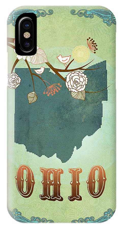 Ohio IPhone X Case featuring the digital art Modern Vintage Ohio State Map by Joy House Studio