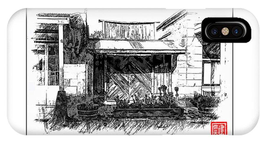 Fine Art Pencil IPhone X Case featuring the digital art Mokelumne Hill Iv by Ken Evans