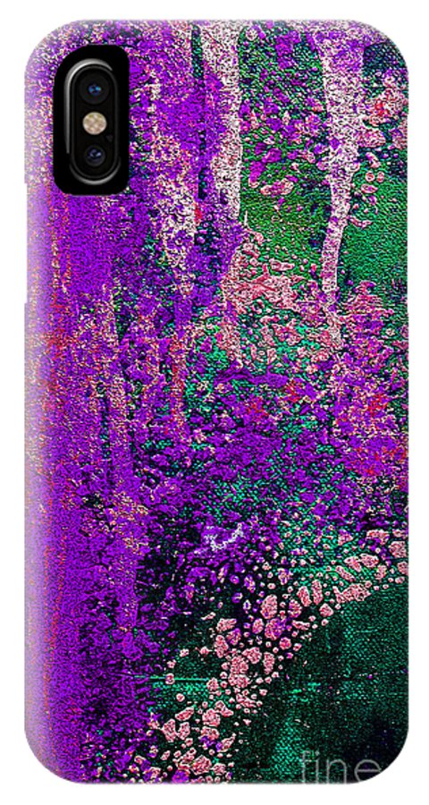Abstract IPhone X Case featuring the painting Molten Earth Purple by Kusum Vij