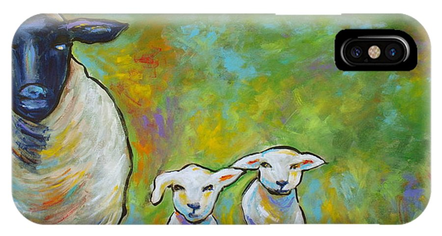 Lamb IPhone X Case featuring the painting Mom And Kids by Ellen Lewis