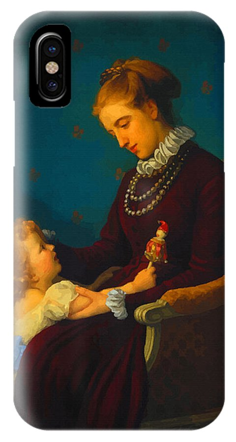 Decorative IPhone X Case featuring the digital art Mom I Love You by Don Kuing