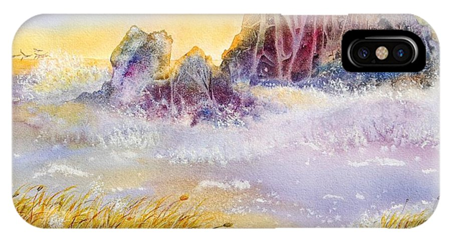 Watercolor IPhone X Case featuring the painting Moment Of Transition - Oregon Coast by Heidi Searle