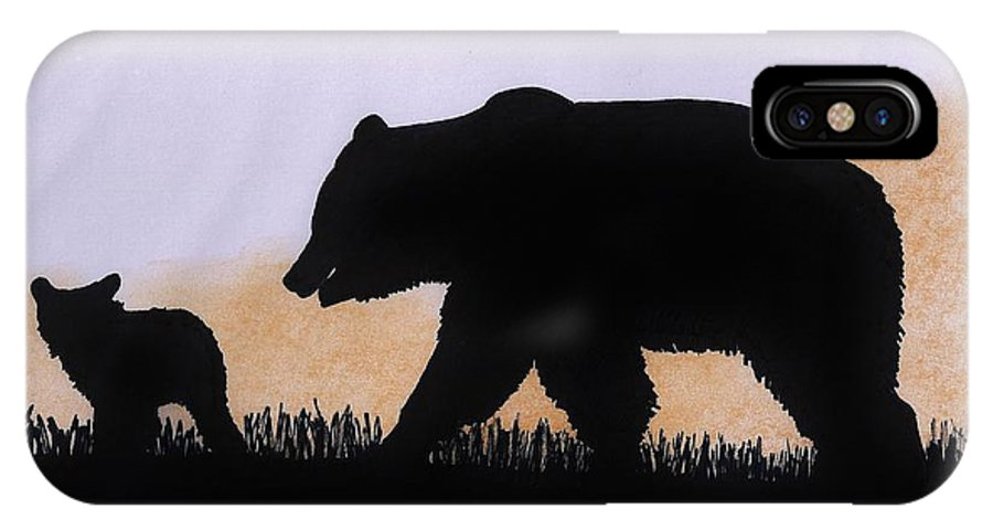Bear IPhone X Case featuring the drawing Momma Bear And Cub by D Hackett