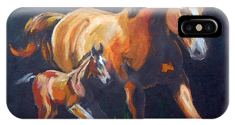 Horses IPhone X Case featuring the painting Momma's Little Spitfire by Sharon Coyle