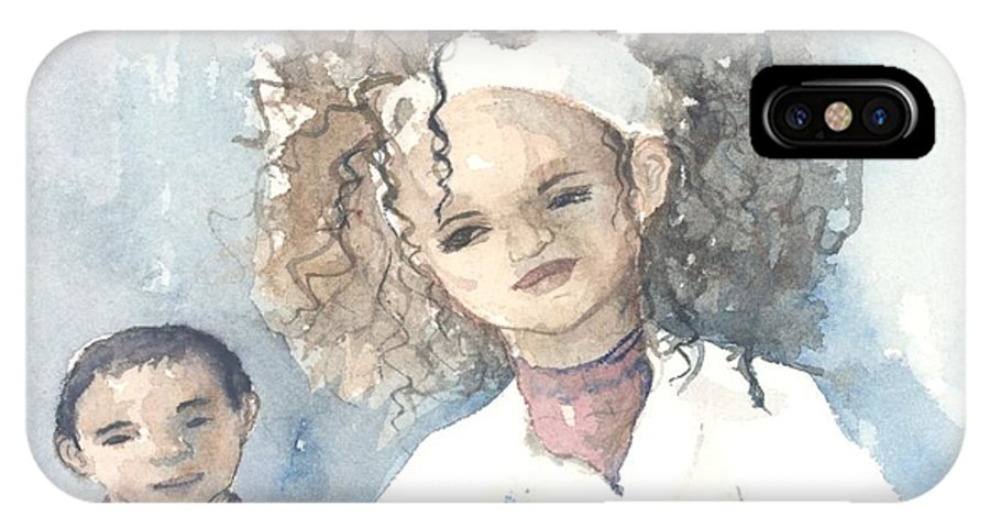 Family IPhone X Case featuring the painting Mommy And Me by Kathye Arrington