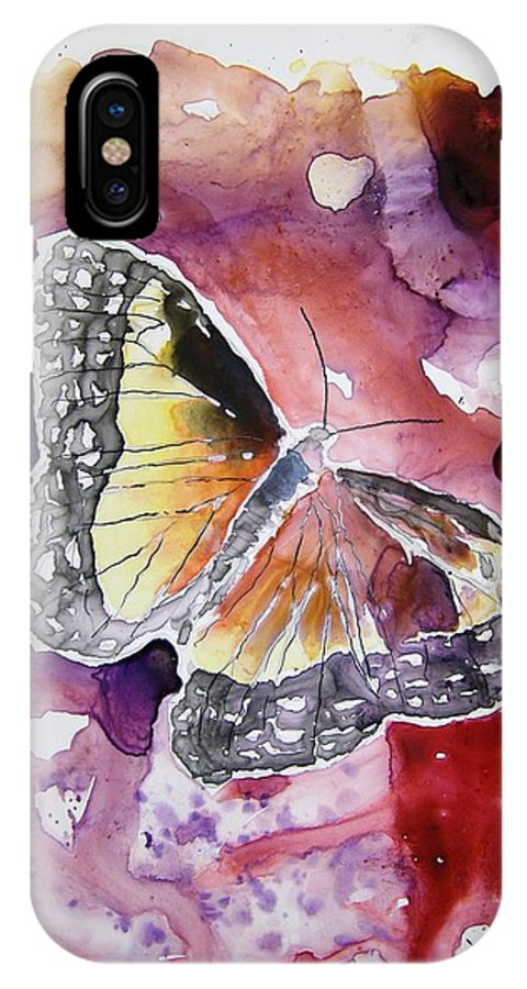 Monarch IPhone X Case featuring the painting Monarch Butterfly by Derek Mccrea