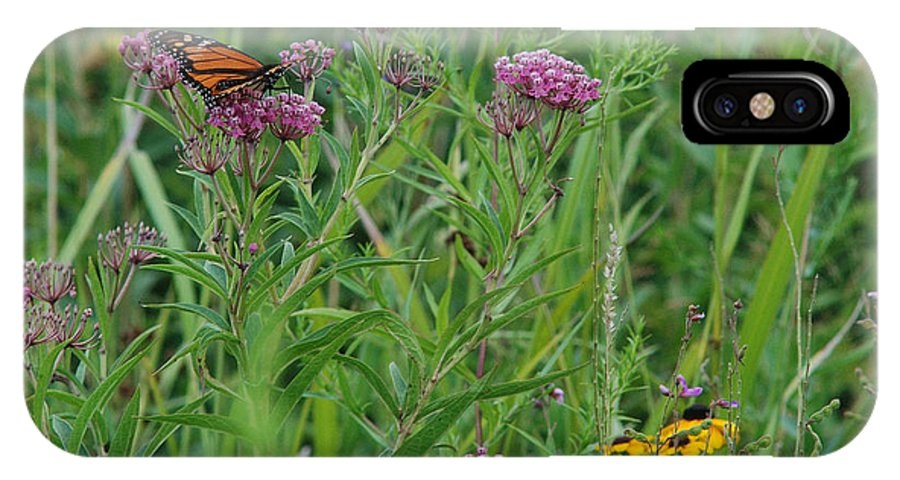 Wildflowers IPhone X Case featuring the photograph Monarch In The Wildflowers by Janice Adomeit