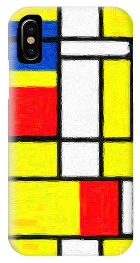 Mondrian Rectangles IPhone X Case featuring the digital art Mondrian Rectangles by Celestial Images