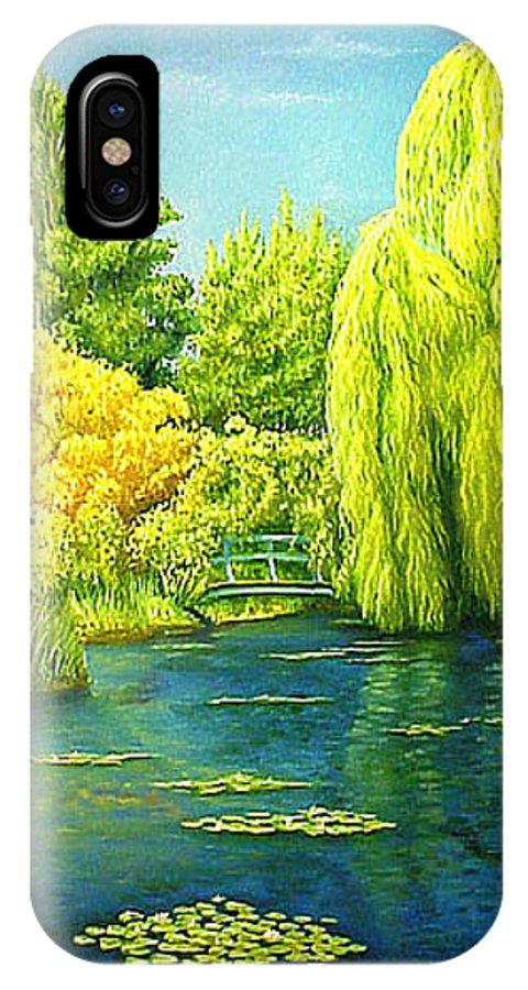 Monets Lily Pond IPhone X Case featuring the painting Monets Lily Pond In Green by Gary Hernandez