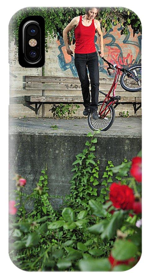 Bmx Flatland IPhone X Case featuring the photograph Monika Hinz Doing Elegant Bmx Flatland Trick by Matthias Hauser