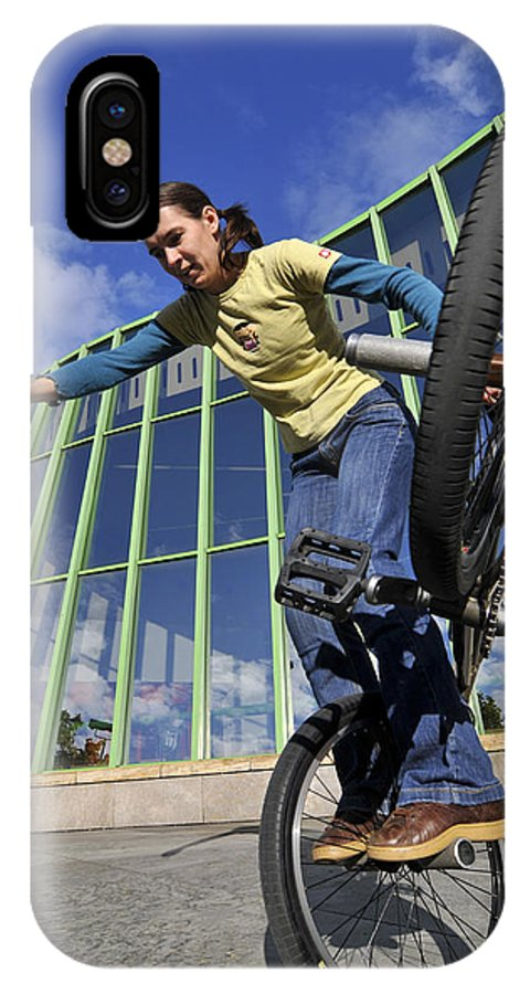 Bmx Flatland IPhone X Case featuring the photograph Monika Hinz Riding Bmx Flatland by Matthias Hauser